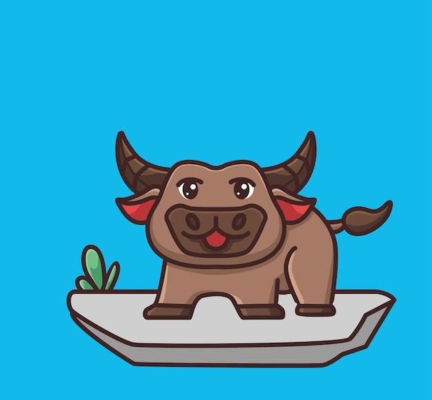 Netter büffel bleibt auf dem boden. cartoon-tier-natur-konzept isolierte abbildung. flacher stil geeignet für sticker icon design premium logo vektor. maskottchen-charakter
