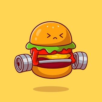 Netter burger, der langhantel-karikatur-vektor-symbol-illustration anhebt. lebensmittelgesundes symbol-konzept. flacher cartoon-stil
