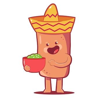 Netter burrito im sombrerohut mit guacaamole-soße-zeichentrickfigur