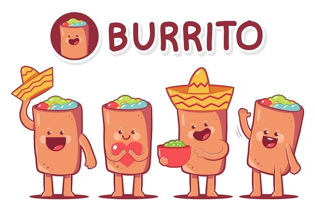 Netter burrito-zeichentrickfiguren-satz isoliert