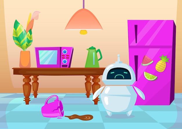 Netter cartoon-chatbot verärgert über zerbrochene tasse. flache illustration.