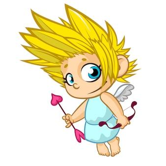 Netter cartoon cupid baby boy charakter mit flügeln, die pfeil und bogen halten