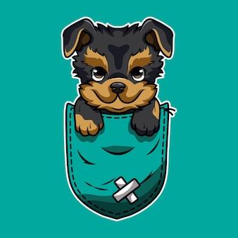 Netter cartoon ein yorkshire terrier in einer tasche
