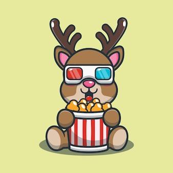 Netter cartoon-hirsch, der popcorn isst und einen 3d-film ansieht