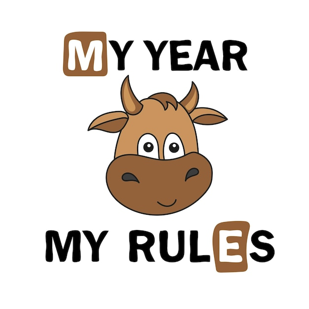 Netter cartoon-stier. baby-stier, symbol für 2021 zum ausdrucken - ich-jahr - ich-regeln