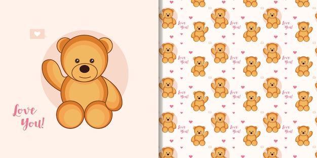 Netter cartoon-teddybär mit nahtlosem muster des liebesemoticon