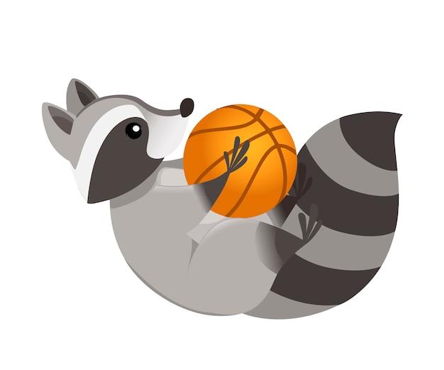 Netter cartoon-waschbär liegt auf seinem rücken und hält ein basketball-cartoon-tiercharakter-design