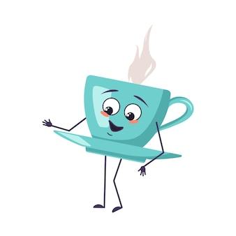 Netter charakter, der eine tasse tee mit emotionen der freude hält, lächelndes gesicht, glückliche augenhände
