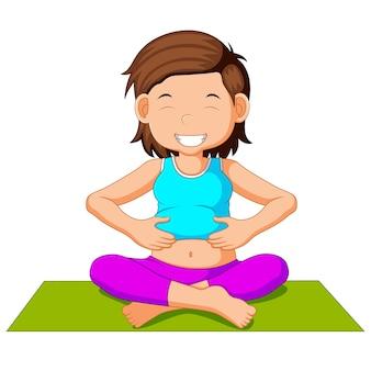 Netter charakter der schwangeren frau, der yoga tut