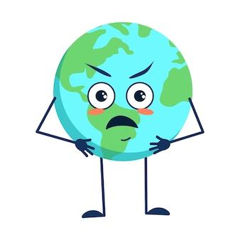 Netter charakter des planeten erde mit wütenden emotionen gesicht armen und beinen isoliert