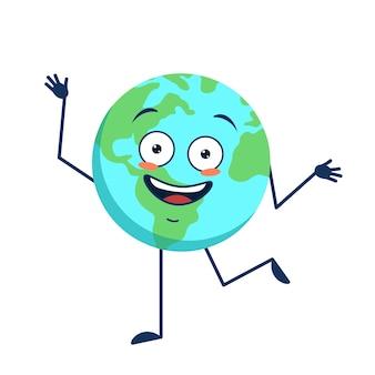 Netter charakter fröhlicher und glücklicher planet erde mit emotionen, die arme und beine isoliert tanzen