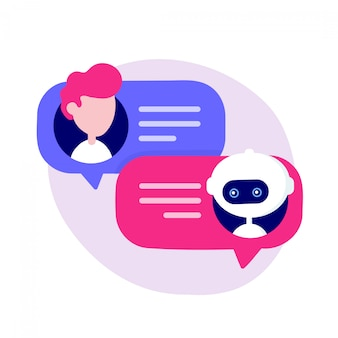 Netter chatbot, der mit mann plaudert
