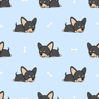 Netter chihuahuahund, der nahtloses muster schläft