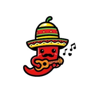 Netter chili, der ukulelecharakter spielt