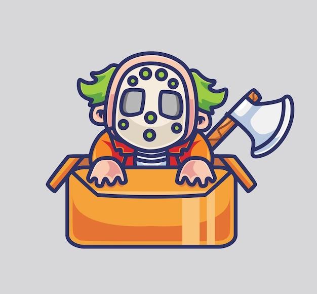 Netter clown auf dem karton und einer axt isolierte cartoon-tier-halloween-illustration flat style