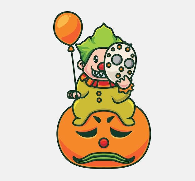 Netter clown, der einen ballon auf riesigem kürbis hält isolierte cartoon-tier-halloween-illustration flat