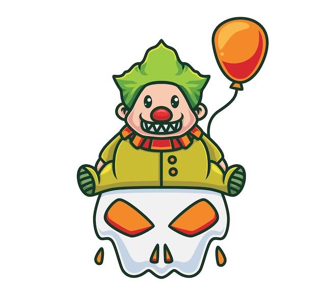 Netter clown, der einen ballon hält und auf einem riesigen schädel sitzt. isolierte cartoon-tier-halloween-illustration. flacher stil geeignet für sticker icon design premium logo vektor. maskottchen-charakter