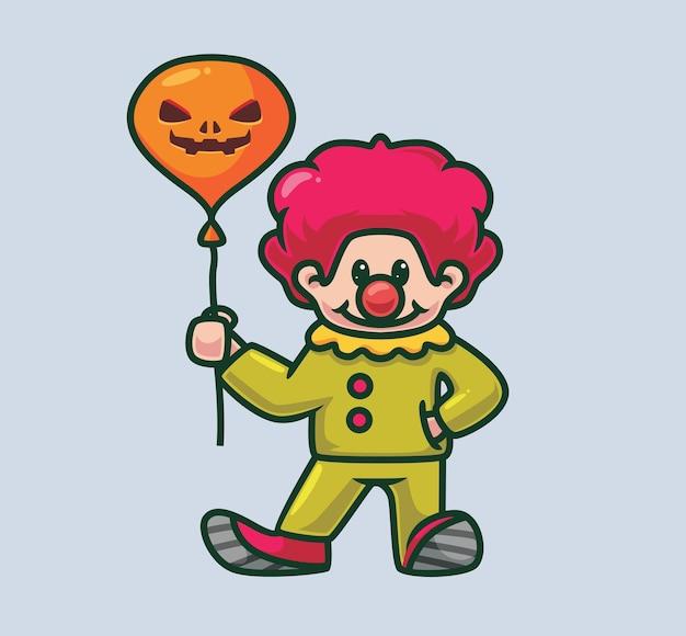 Netter clown, der einen grinsenden ballon hält. isolierte cartoon-halloween-illustration. flacher stil geeignet für sticker icon design premium logo vektor. maskottchen-charakter