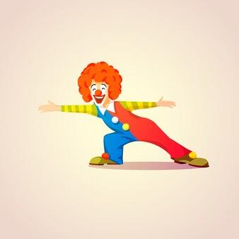 Netter clown, jemand, das vektorkarikaturillustration trifft