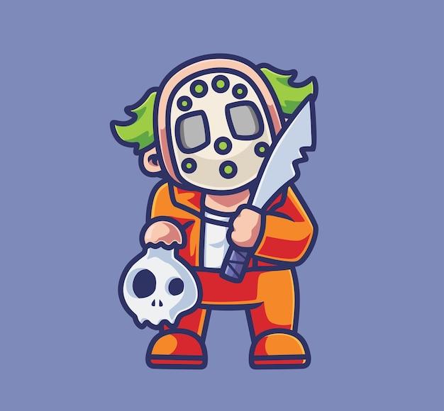 Netter clown-killer, der machete hält isolierte cartoon-tier-halloween-abbildung flat style