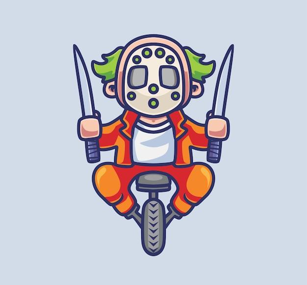 Netter clown-killer reitet ein rad mit messern isolierte cartoon-tier-halloween-illustration