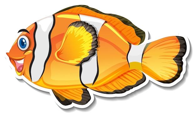 Netter clownfisch-cartoon-charakter-aufkleber