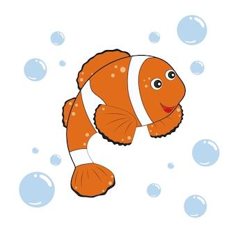 Netter clownfisch lokalisiert auf weißem hintergrund. kindervektorillustration von fischen und meeresbewohnern. gestaltung von kinderbüchern, kleidung, farben, textilien, spielzeug. zeichentrickfigur