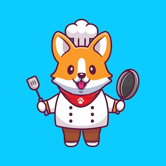Netter corgi-chef mit bratpfanne und spatel. cartoon icon illustration. animal profession icon konzept isoliert premium. flacher cartoon-stil