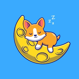 Netter corgi-hund, der auf der mond-karikatur-vektor-icon-illustration schläft. tier natur symbol konzept isoliert premium-vektor. flacher cartoon-stil