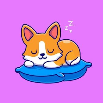 Netter corgi-hund, der auf kissen-cartoon-vektor-icon-illustration schläft. tier natur symbol konzept isoliert premium-vektor. flacher cartoon-stil