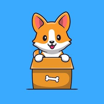 Netter corgi-hund, der im kasten-karikatur spielt