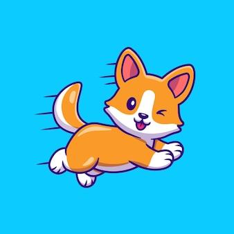 Netter corgi-hund, der karikatur läuft und springt