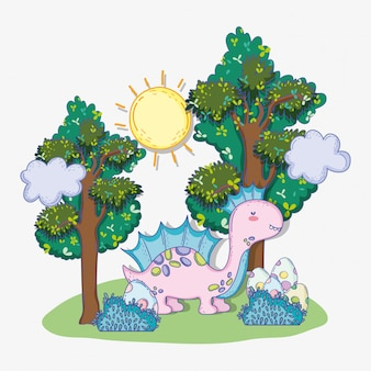 Netter corythosaurus mit eiern in den büschen und bäumen