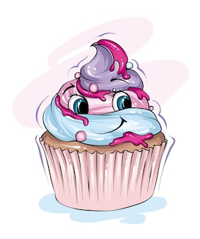 Netter cupcake mit einem lustigen lächeln