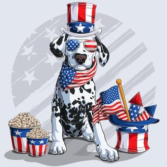 Netter dalmatinischer hund, der mit amerikanischen unabhängigkeitstagelementen 4. juli und gedenktag sitzt