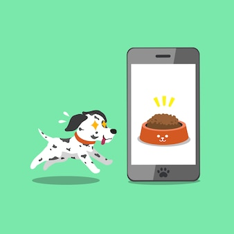 Netter dalmatinischer hund und smartphone der zeichentrickfilm-figur