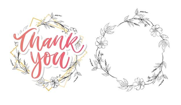 Netter dankeschön-schriftzug mit blumen