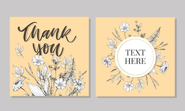 Netter dankeschön-skriptkarten-blumen-brieftext