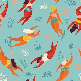 Netter dekorativer hintergrund mit schwimmenden frauen und mädchen im meer oder im ozean. nahtloses muster. unterwasser kunstwerk design. schwimmen und tauchen sie im meer.