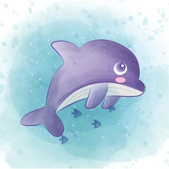 Netter delphin im ozean. aquarellstil.