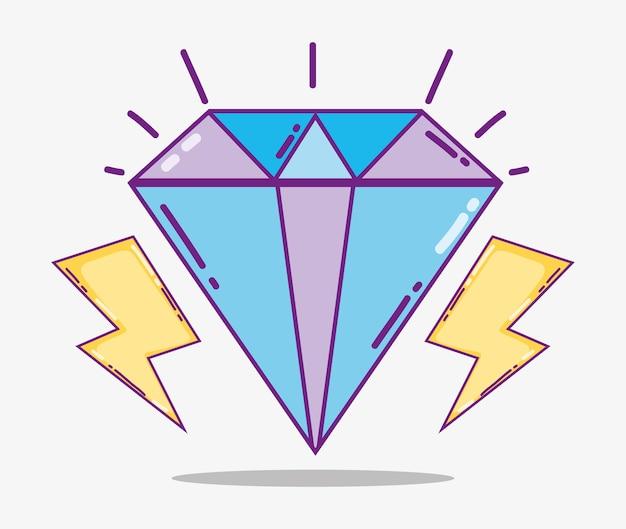 Netter diamant mit strahlenkarikaturvektor-illustrationsgrafikdesign