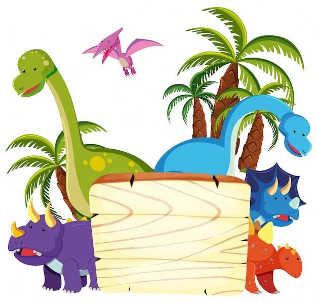 Netter dinosaurier auf hölzernem brett