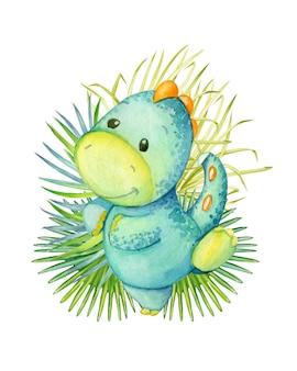 Netter dinosaurier, blaue farbe, tanzend, auf dem hintergrund, tropische blätter. aquarell, tier, karikaturart, auf einem isolierten hintergrund, für kinderdekor.