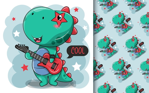Netter dinosaurier-cartoon wird ein rockstar