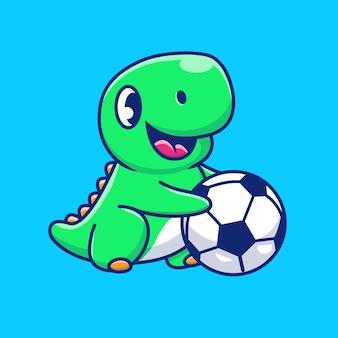 Netter dinosaurier, der ball-symbol-illustration spielt. dino maskottchen zeichentrickfigur. tierikon-konzept isoliert