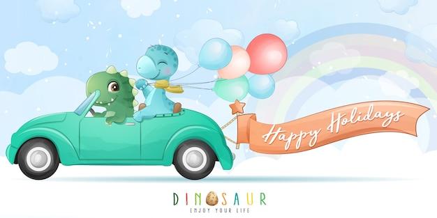 Netter dinosaurier, der ein auto mit aquarellillustration fährt