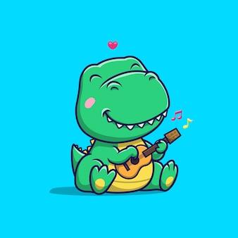 Netter dinosaurier, der gitarrenillustration spielt