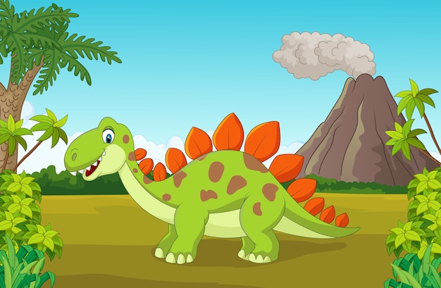 Netter dinosaurier der karikatur im dschungel