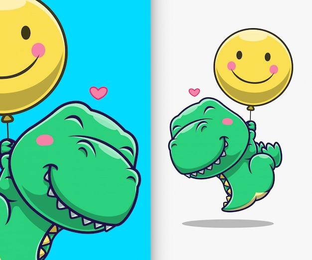 Netter dinosaurier, der mit ballon schwimmt. dinosaurier maskottchen zeichentrickfigur.