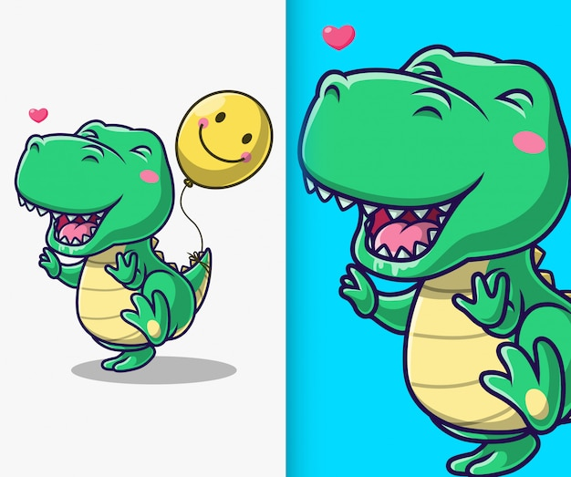Netter dinosaurier, der mit ballon spielt. dinosaurier maskottchen zeichentrickfigur.